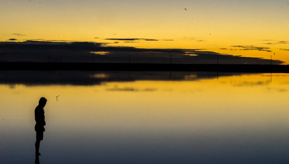 Guerrero Negro salt plains reflecting beautiful sunset